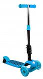 Беговел Scooter 17-1 от 1 года синий | трехколесный самокат с корзинкой, сидением и светящимися колесами, фото 6