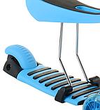 Беговел Scooter 17-1 от 1 года синий | трехколесный самокат с корзинкой, сидением и светящимися колесами, фото 7