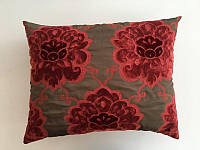 Подушка коричневая с красными цветами Jab