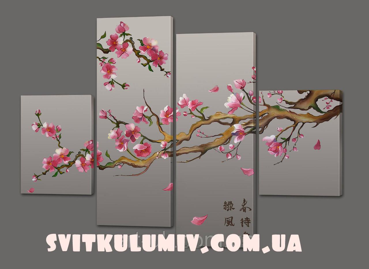 Модульная картина Цветы 120*93 см Код: 361.4к.120