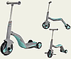 Беговел 3 в 1 FL868 с музыкой серый (от 1 года) детский трехколесный велосипед - самокат с подсветкой колес, фото 3