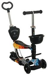 Беговел Scooter 18-2 від 1 року чорний   триколісний самокат з кошиком, сидінням і батьківською ручкою