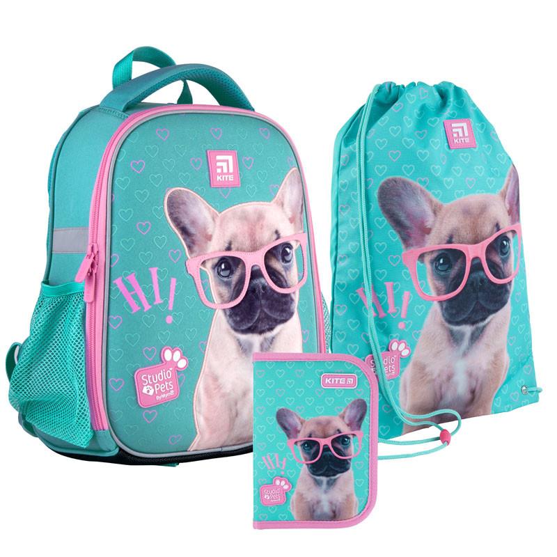 Шкільний набір ранець + пенал + сумка Kite Studio Pets (SP21-555S-1) 830 р 35x26x13,5 см 12 л бірюзовий