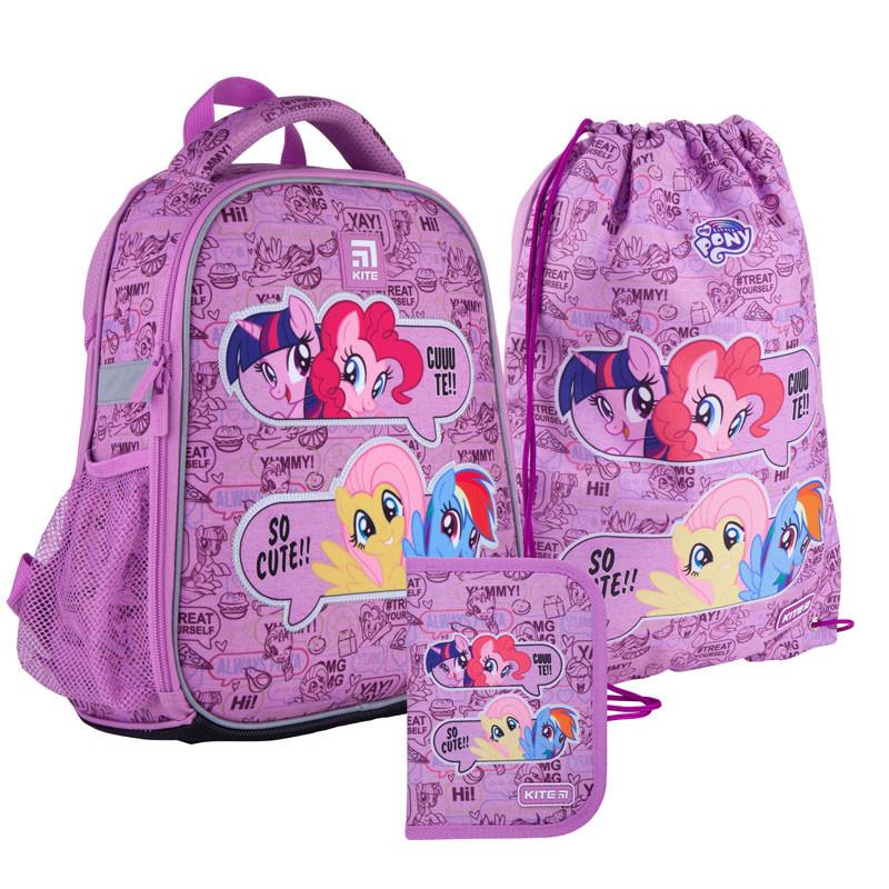 Шкільний набір ранець + пенал + сумка Kite My Little Pony (LP21-555S) 800 г 35x26x13,5 см 12 л фіолетовий