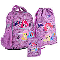 Шкільний набір ранець + пенал + сумка Kite My Little Pony (LP21-555S) 800 г 35x26x13,5 см 12 л фіолетовий, фото 1