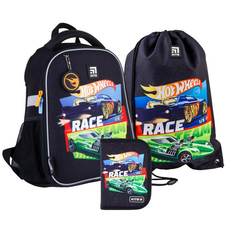 Шкільний набір ранець + пенал + сумка Kite Hot Wheels (HW21-555S) 820 г 35x26x13,5 см 12 л чорний