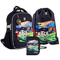Шкільний набір ранець + пенал + сумка Kite Hot Wheels (HW21-555S) 820 г 35x26x13,5 см 12 л чорний, фото 1