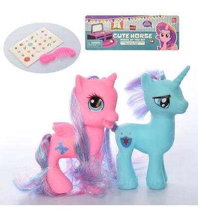 SG-D19037 Ігровий набір конячок Поні 2 шт, 10,5 см і 11 см, гребінець, наклейка, в пакеті 16-18-3,5 см, фото 2
