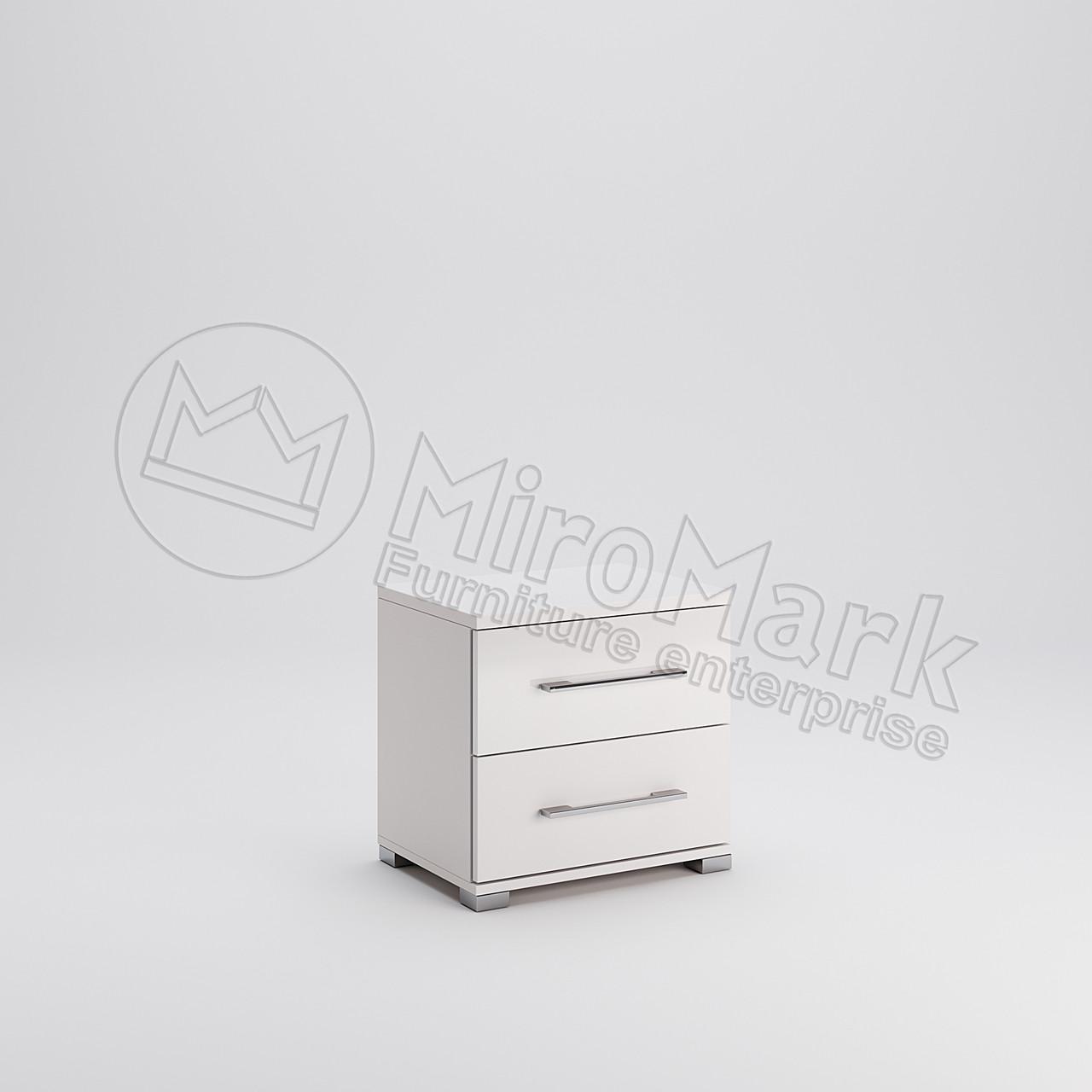 Тумба приліжкова 2шх Фемелі Білий глянець ТМ МироМарк