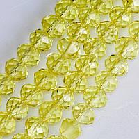 """Намистини скло прозоре світлий лимонно-жовтий """"рондель"""" d-6мм нитка L-40см"""
