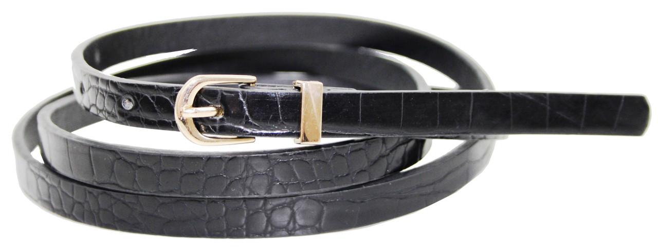 Вузький жіночий ремінь з еко шкіри під крокодила C&A 1101254 чорний
