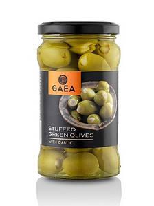 Оливки зеленые фаршированные чесноком Gaea, 170г