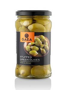 Оливки зеленые фаршированные миндалем Gaea, 165г