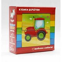 """Деревянные кубики """"Транспорт """" укр."""