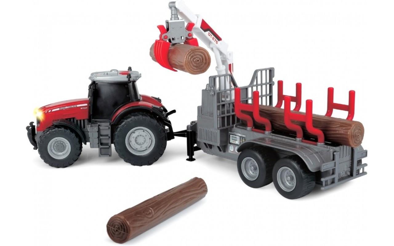 Трактор Massey Ferguson 8737 с прицепом и бревнами 42 см (звук, свет) Dickie Toys 3+ (3737003)