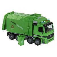Машинка детская мусоровоз большая игрушечная с баком инерционная Спецтехника со светом звуком Зеленый (22156)