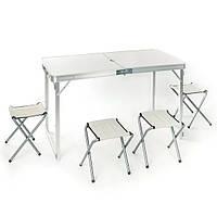 Стіл для пікніка посилений + 4 стільця/білий