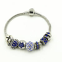 "Браслет Pandora (пандора) синие камни ""Краб"" Р004"
