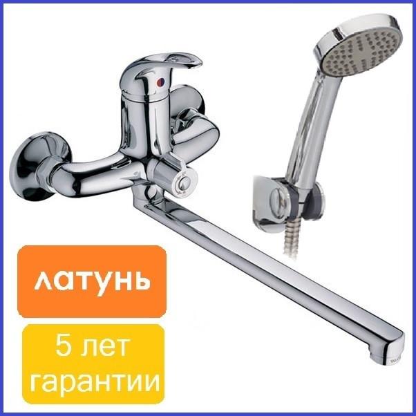 Одноважільний змішувач для ванни ЛАТУННИЙ з довгим виливом гусаком 35 см з душем Europroduct 006