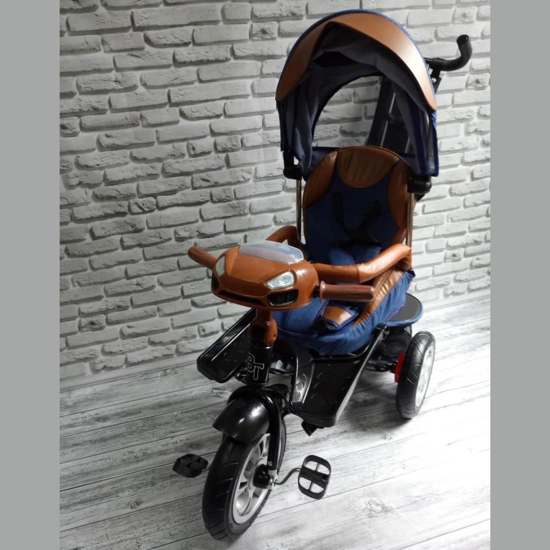Велосипед трехколесный 5099-1 ткань лен, поворотное сиденье,музыка,надувные колеса (СИНИЙ)