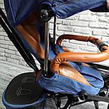 Велосипед трехколесный 5099-1 ткань лен, поворотное сиденье,музыка,надувные колеса (СИНИЙ), фото 4