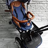Велосипед трехколесный 5099-1 ткань лен, поворотное сиденье,музыка,надувные колеса (СИНИЙ), фото 5