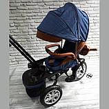 Велосипед трехколесный 5099-1 ткань лен, поворотное сиденье,музыка,надувные колеса (СИНИЙ), фото 6