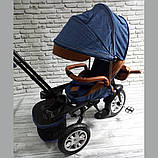 Велосипед триколісний 5099-1 тканина льон, поворотне сидіння,музика,надувні колеса (СИНІЙ), фото 6