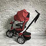 Велосипед триколісний 5099-1 тканина льон, поворотне сидіння,музика,надувні колеса (ЧЕРВОНИЙ), фото 2