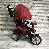 Велосипед триколісний 5099-1 тканина льон, поворотне сидіння,музика,надувні колеса (ЧЕРВОНИЙ), фото 3