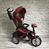 Велосипед триколісний 5099-1 тканина льон, поворотне сидіння,музика,надувні колеса (ЧЕРВОНИЙ), фото 5