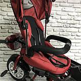 Велосипед триколісний 5099-1 тканина льон, поворотне сидіння,музика,надувні колеса (ЧЕРВОНИЙ), фото 8