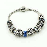Браслет Pandora (пандора) голубые камни Р007