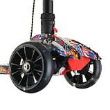 Детский самокат 6688  , Cкладной руль, колёса PU светятся 130мм ,Ручной тормоз, фото 3