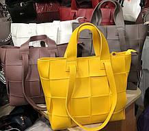 Плетённая сумка женская из кожзама вместительная с переплетом
