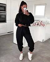 Женский стильный спортивный костюм с укороченным топом и капюшоном, фото 1