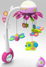 Музыкальный мобиль-проектор Smoby Cotoons Цветок с пультом, розовый
