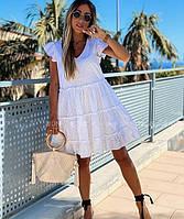 Женское  белое  платье из прошвы до колена Размеры:42-44,46-48,50-52,54-56