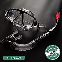 Набор для плавания маска и трубка Dolvor, термостекло, пластик, PVC, черный (СМИ М4204Р+SN52P)
