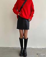Жіноча стильний міні спідниця з еко-шкіри, фото 1