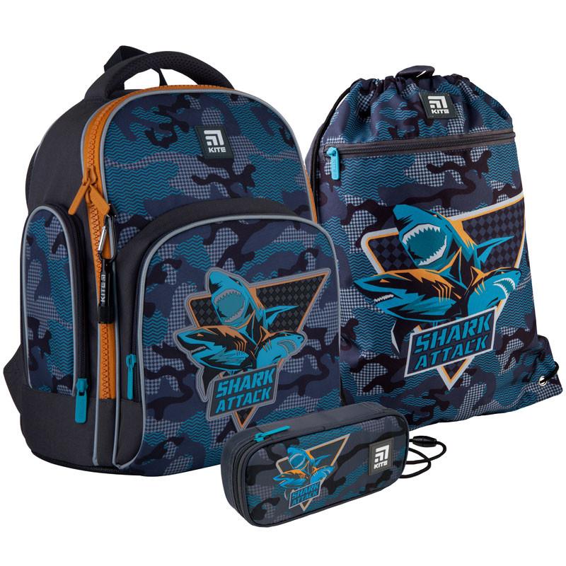 Школьный набор рюкзак + пенал + сумка Kite Shark attack (K21-706S-1)  830 г  36x29x16,5 см  15,5 л  серый