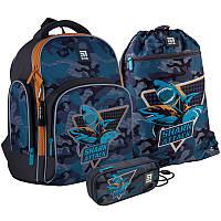 Школьный набор рюкзак + пенал + сумка Kite Shark attack (K21-706S-1)  830 г  36x29x16,5 см  15,5 л  серый, фото 1