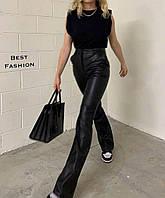Женские стильные брюки клеш из эко-кожи, фото 1