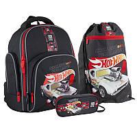 Школьный набор рюкзак + пенал + сумка Kite Hot Wheels (HW21-706S)  770 г  36x29x16,5 см  15,5 л  серый, фото 1