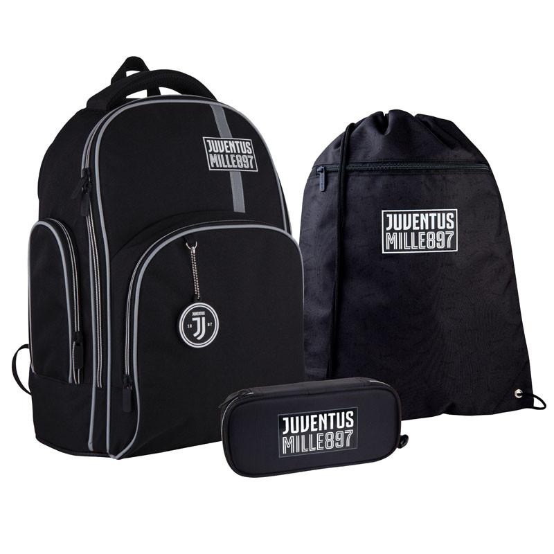 Шкільний набір ранець + пенал + сумка Kite FC Juventus (JV21-706M) 800 г 38x29x16,5 см 16 л чорний