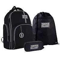 Шкільний набір ранець + пенал + сумка Kite FC Juventus (JV21-706M) 800 г 38x29x16,5 см 16 л чорний, фото 1