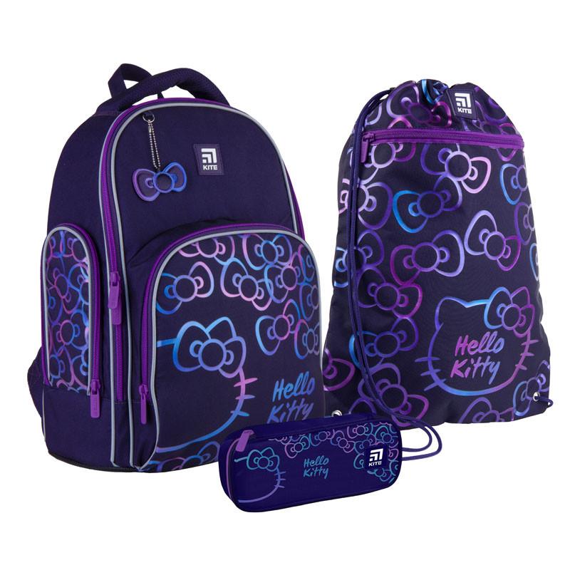 Шкільний набір ранець + пенал + сумка Kite Hello Kitty (HK21-706M) 800 г 38x29x16,5 см 16 л фіолетовий