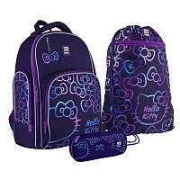Шкільний набір ранець + пенал + сумка Kite Hello Kitty (HK21-706M) 800 г 38x29x16,5 см 16 л фіолетовий, фото 1