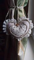 Декоративний підхоплення для штор авторська робота середечко біле в квіточку