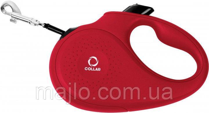 81253 Поводок-рулетка Collar М для собак до 25 кг, 5 м Червоний, стрічка